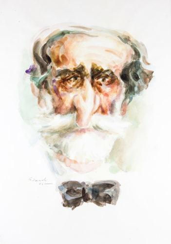 Caricatura di Giuseppe Verdi, acquerello