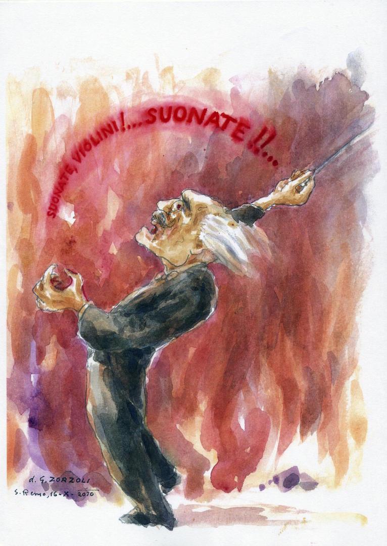 Arturo Toscanini alle prove, caricatura